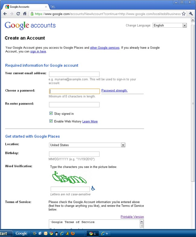 Google Places - Create a Google account if you don't already have one