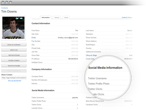 HubSpot 3 Contact Profile With Social media info