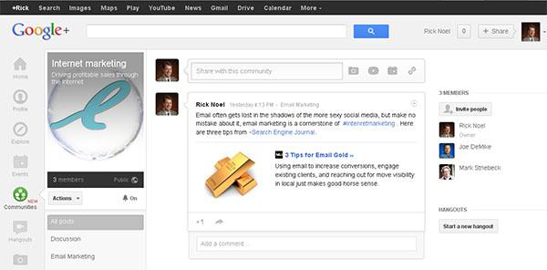 google Internet marketing community