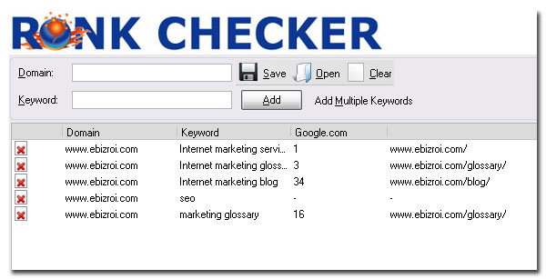 SEOBook.com Rank Checker results for Internet marketing services