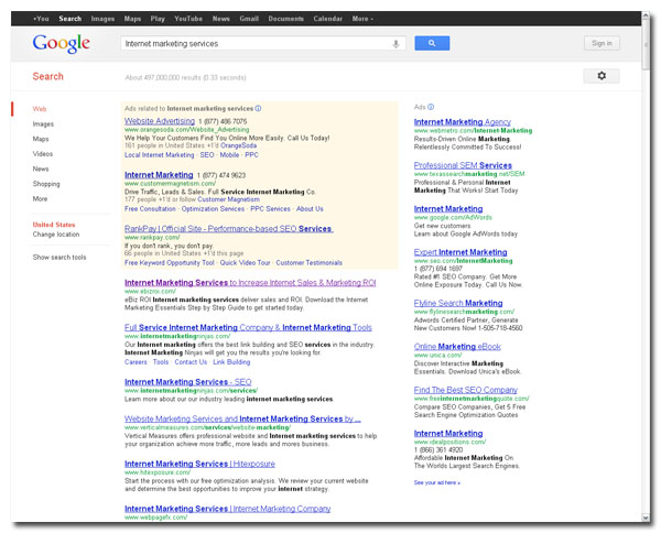 Internet marketing services Google search results