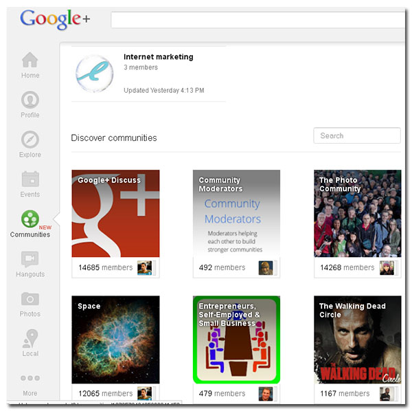 search discover other google  communities