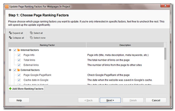 step 1 choose page ranking factors