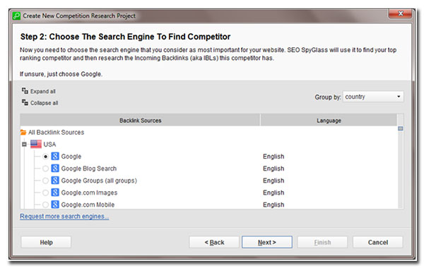 step 2 choose the search engine to find competitor