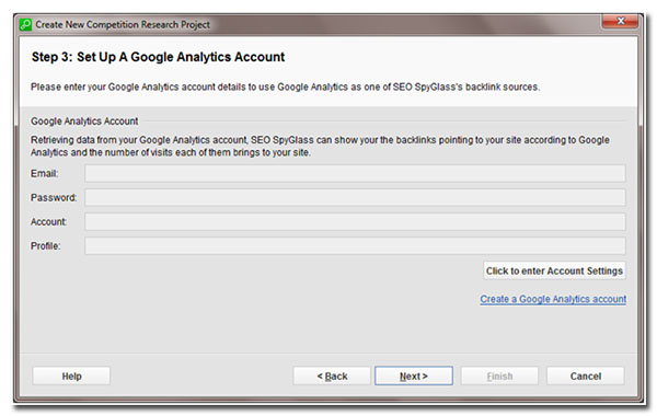 step 3 set up a google analytics account