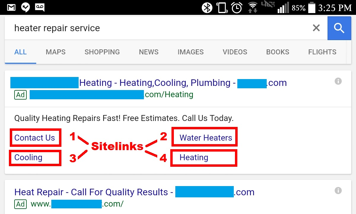Google AdWords Sitelink Example Showing Max of 4 Sitelinks on Mobile