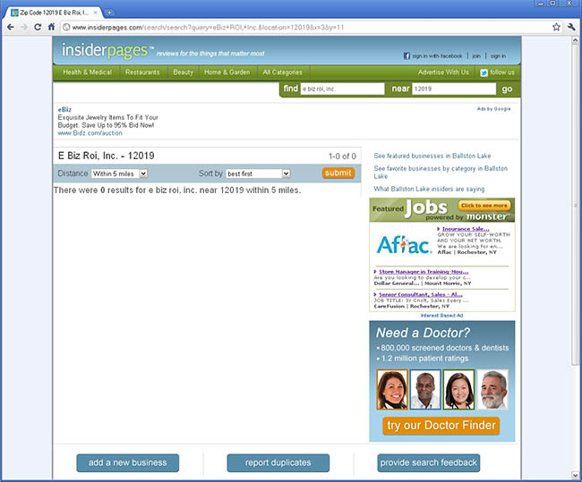 insiderpages.com search results for eBiz ROI, Inc. not found