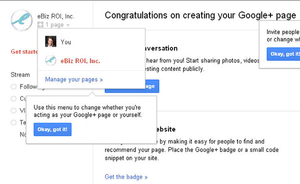 Google Plus Business Page Congratulations on Creating Your Google Plus Page