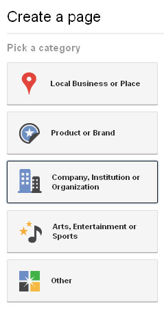 Google Plus Business Page Pick a Category