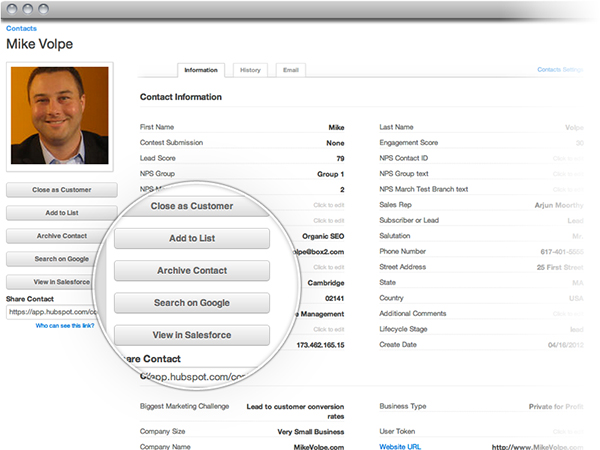 HubSpot 3 Contact Profile