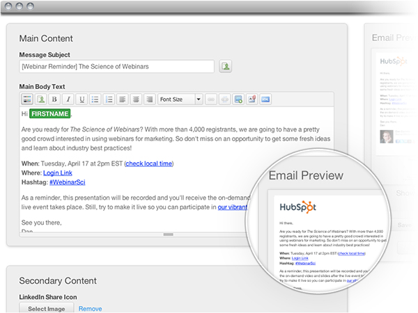 HubSpot 3 email compose