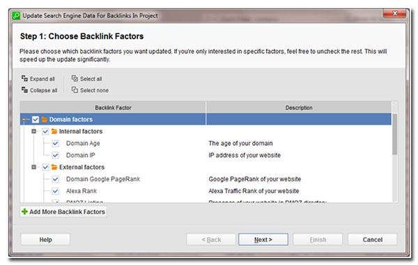 step 1 choose backlink factors