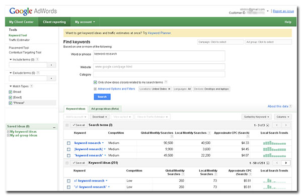 "Example of the Google Keyword Tool running a query for the keyphrase ""keyword research"""