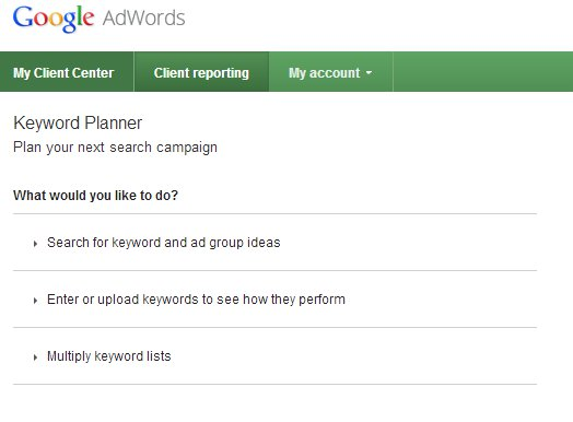 Google Keyword Planner Interface