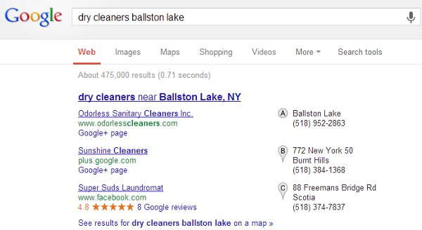 local search example featuring search results with Google+ pages