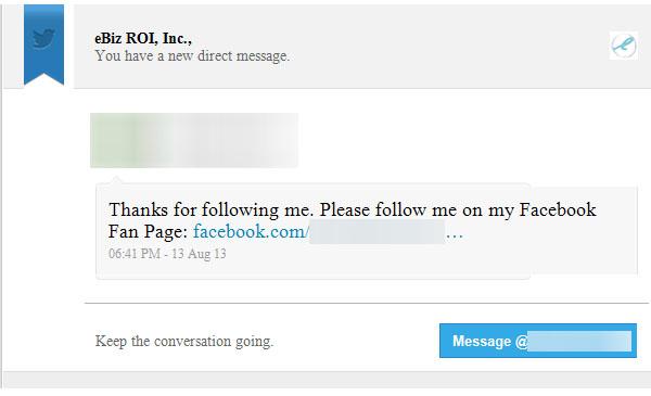 Twitter follow auto-response
