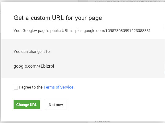 Get a custom URL for your Google+ Page dialog box