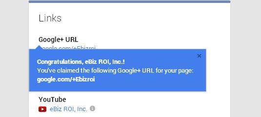 eBiz ROI Google+ custom URL confirmation