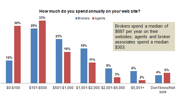 How much do real estate professional spend on their websites annually?