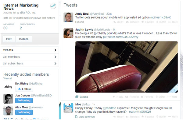 Curating Content with the Internet Marketing News Twitter List