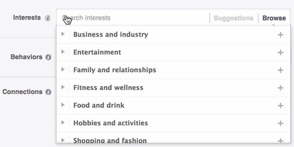 Facebook Ad Targeting-define audience interests