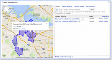 Google AdWords Location Targeting by Specificity