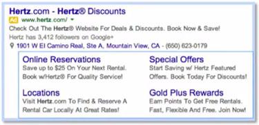 Google AdWords Sitelink Extensions example