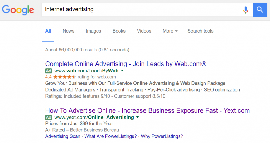 Internet advertising Google query example