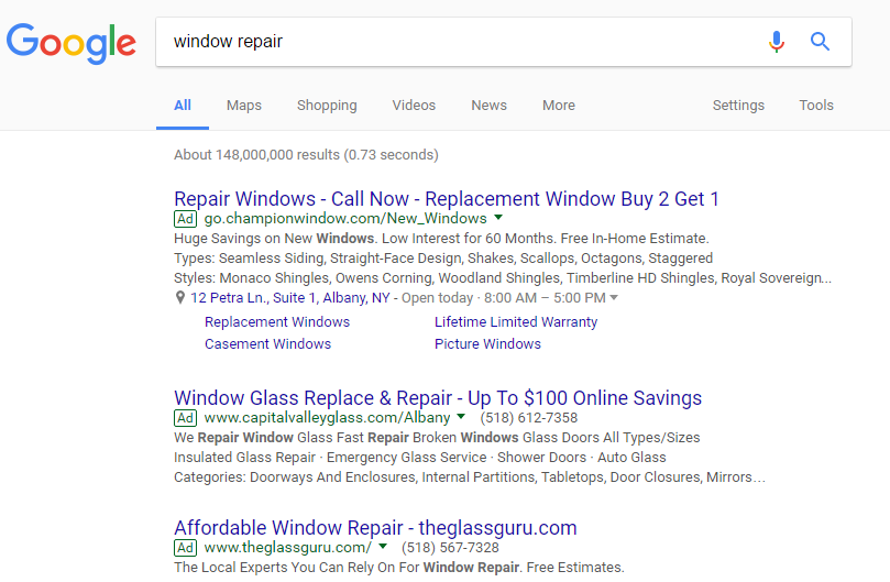Google Search Results for Window Repair