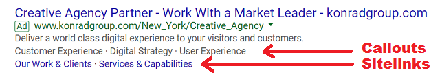 Google Callout Extension Example with Sitelinks