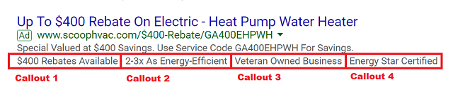 Google Callout Extension Example