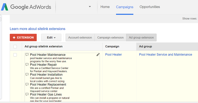 Google Sitelinks at Ad Group Level Example