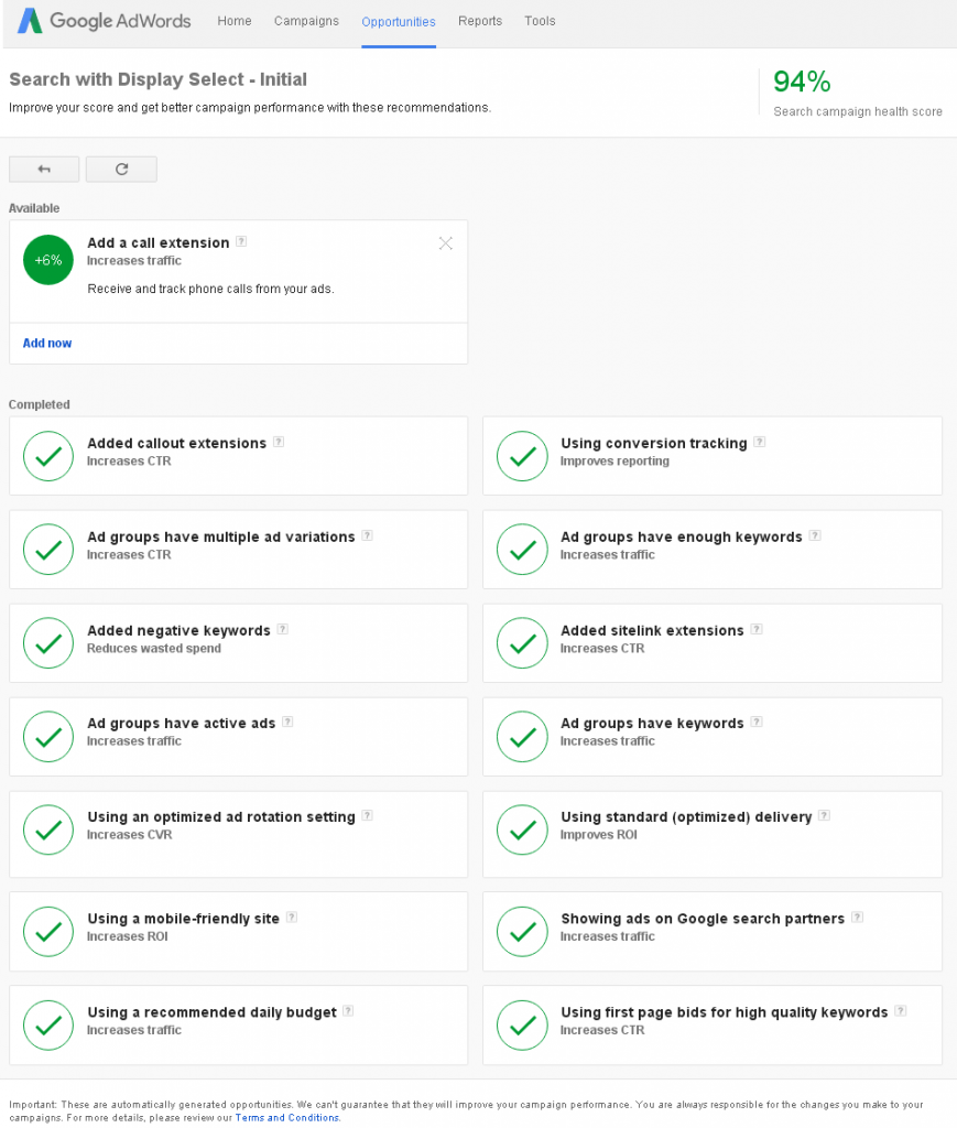 Completed Tasks by Campaign for AdWords Account Health Score