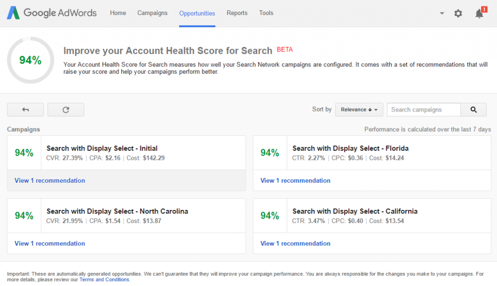 Improve your Account Health Score for Search