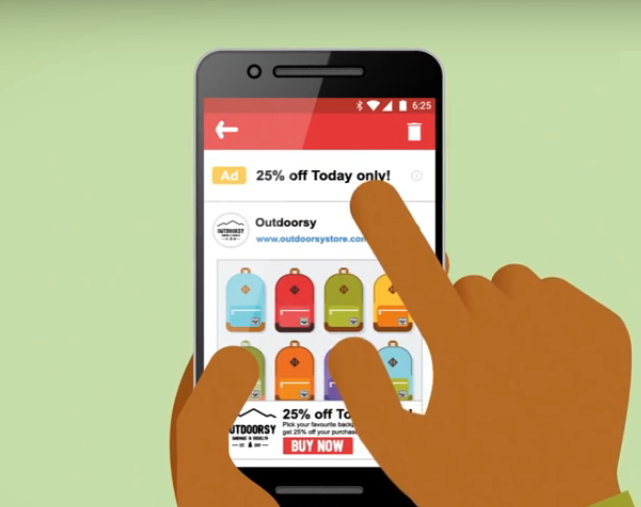 Gmail Ad Expands After User Clicks, Providing an Immersive User Experience