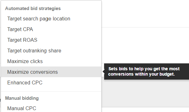 AdWords Bidding Strategies - Maximize Conversions - automatically adjust bids to show your ads to those most likely to convert