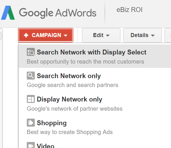 Selecting an AdWords Campaign Type During Campaign Creation