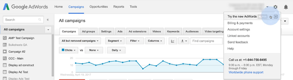 Return to the New AdWords Experience