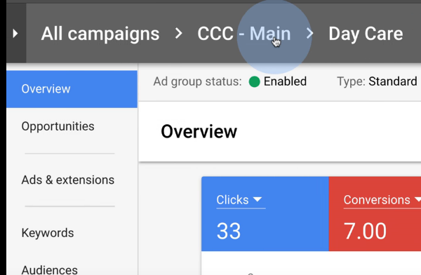 The New AdWords Experience - Navigating Between Campaigns